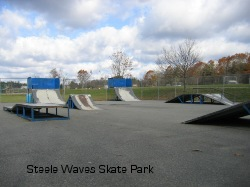Skateboard park 0 shows5 ramps differing in size