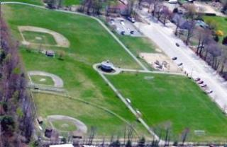 Aerial View of Curtis Recreation Field, including 3 baseball fields and other activity spaces