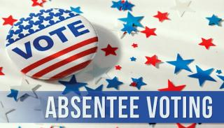 "red, white & blue button saying ""vote"", text for absentee voting, background of red & blue stars"