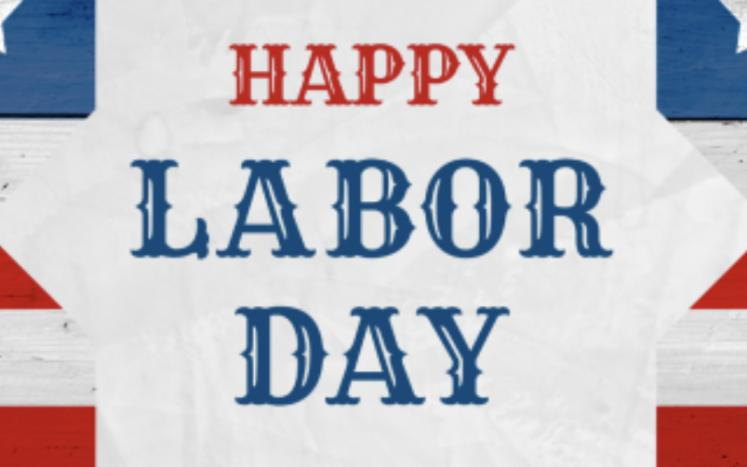 Happy Labor Day written on flag background