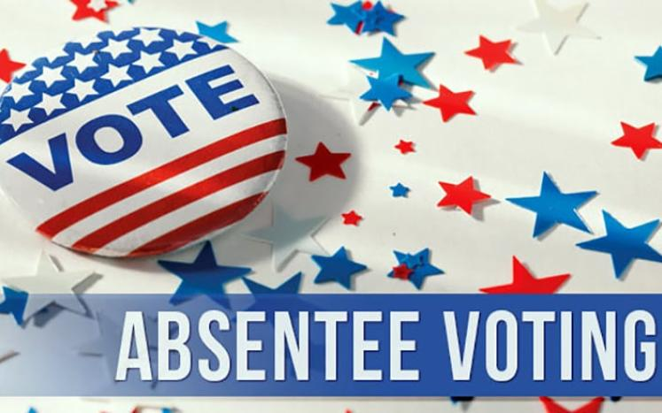 """red, white & blue button saying """"vote"""", text for absentee voting, background of red & blue stars"""