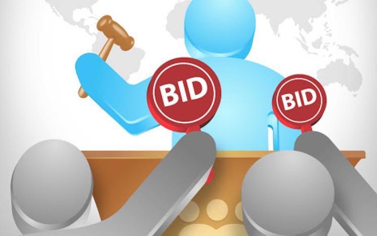 auctioneers holding bid paddles
