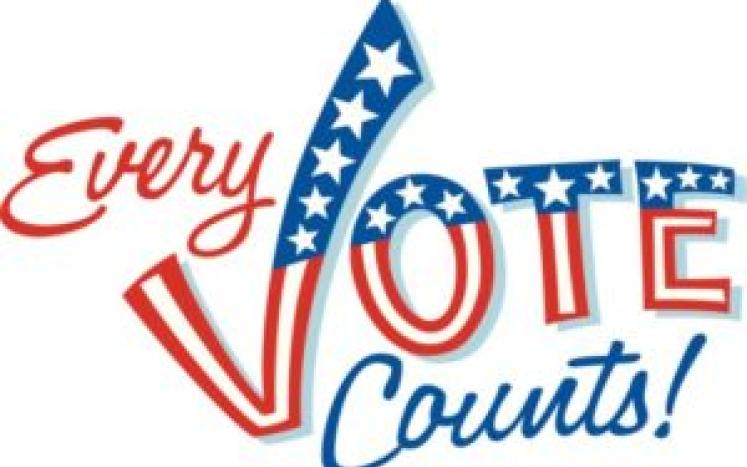 every vote counts in red white and blue with stars and stripes