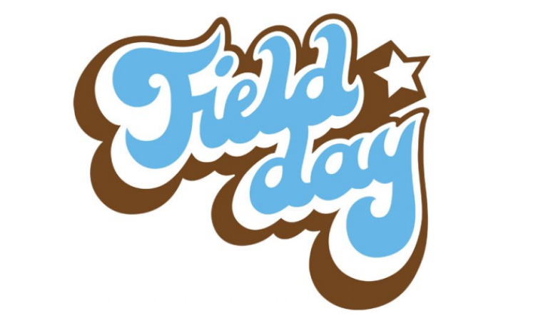 field day written in brown and blue bubble letters