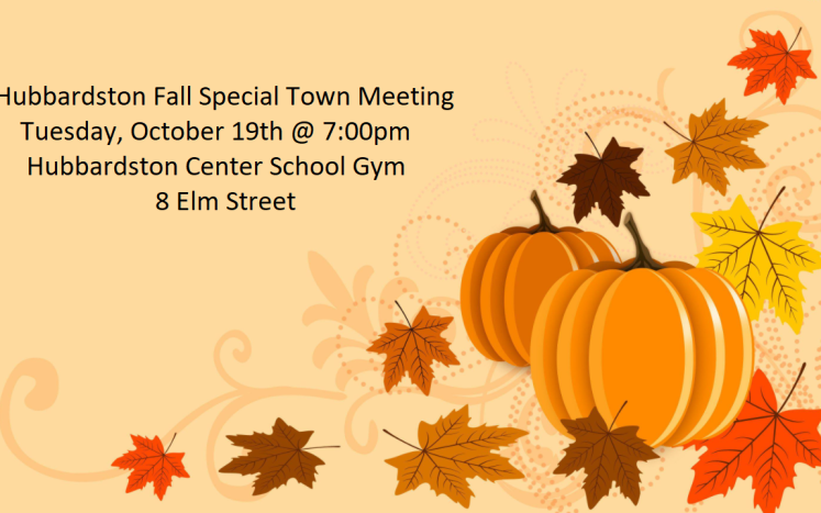 pumpkin and leaf background with special town meeting information