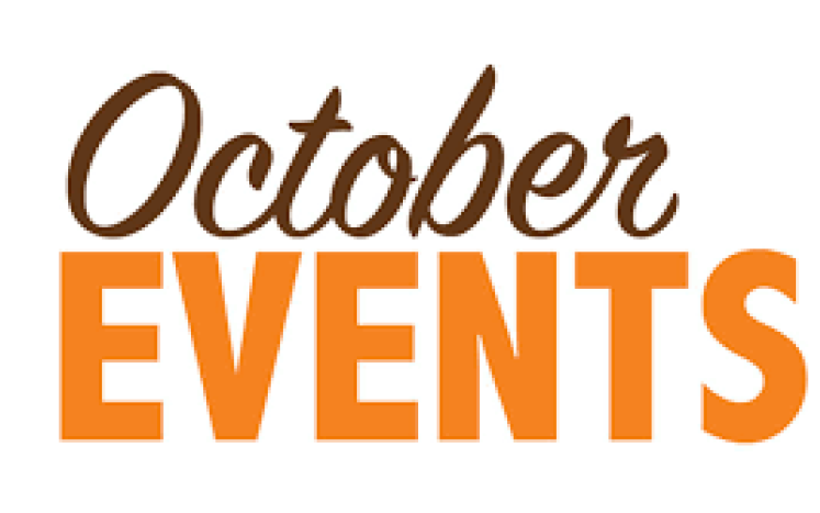 October events written in maroon and orange