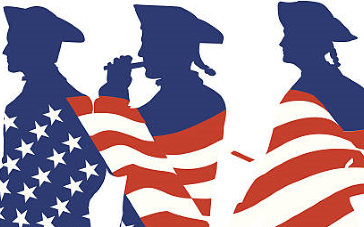 american flag with silhouettes of patriots