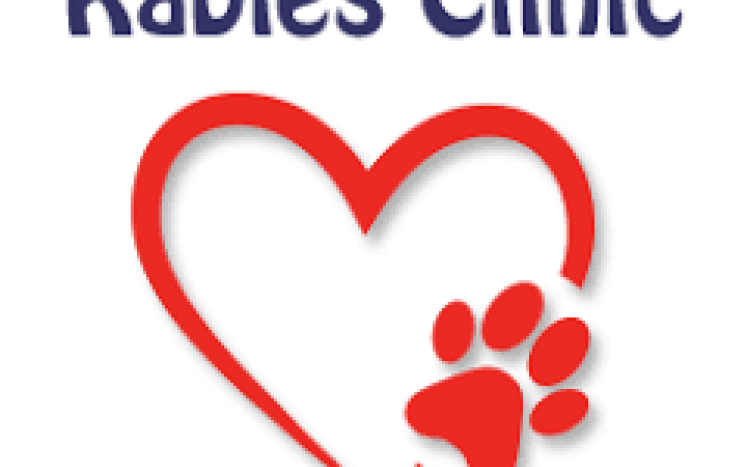 rabies clinic in heart with paw print