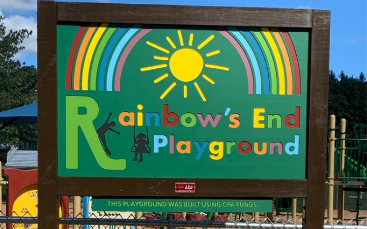 rainbows end playground sign