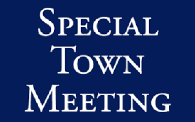 special town meeting written in white on blue background